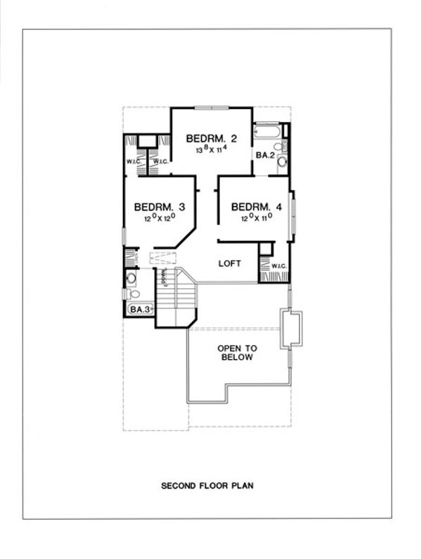 Cottage Style House Plan - 4 Beds 4 Baths 2308 Sq/Ft Plan #472-9 Floor Plan - Upper Floor Plan