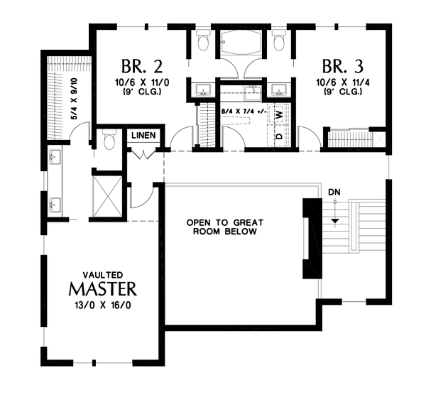 Contemporary Floor Plan - Upper Floor Plan Plan #48-1019