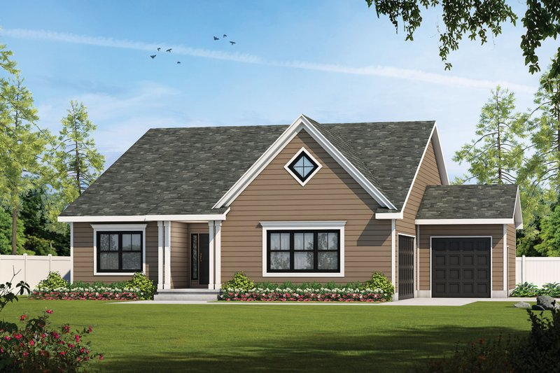 Traditional Style House Plan - 2 Beds 2.5 Baths 2120 Sq/Ft Plan #20-2425 Exterior - Front Elevation