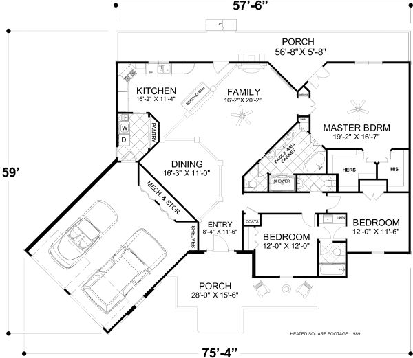 Craftsman Floor Plan - Main Floor Plan Plan #56-717