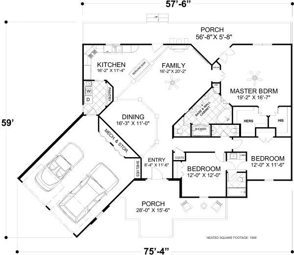 House Plan Design - Craftsman Floor Plan - Main Floor Plan #56-717