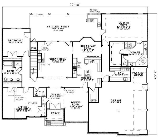 European Floor Plan - Main Floor Plan Plan #17-1171