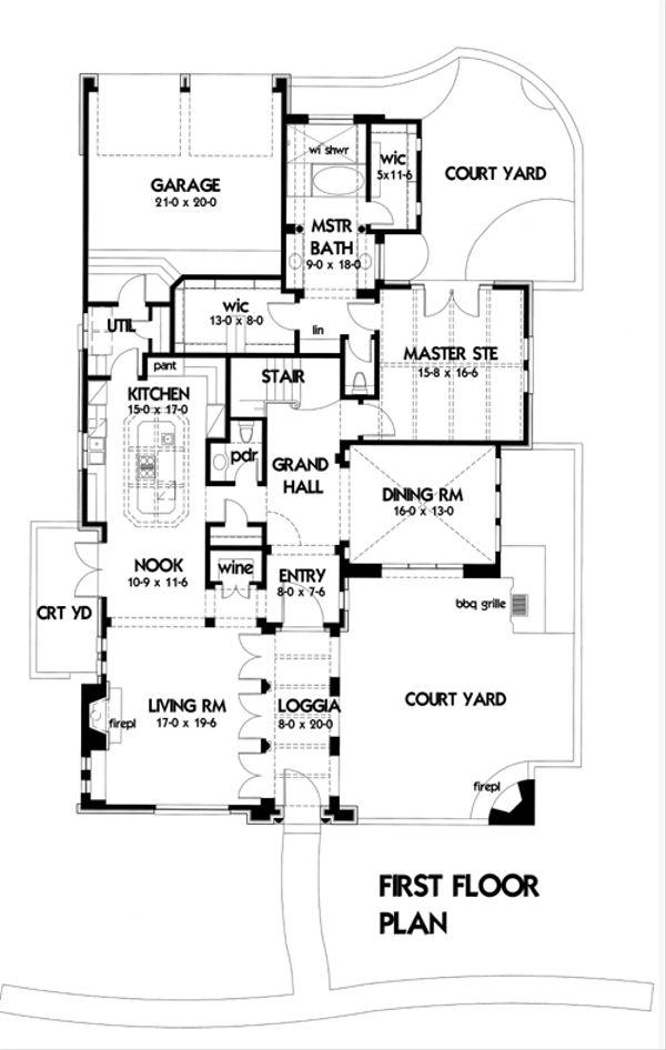 Mediterranean Floor Plan - Main Floor Plan Plan #120-164