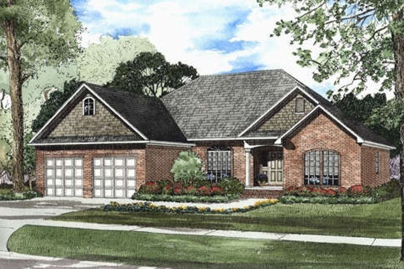 European Style House Plan - 3 Beds 2 Baths 1909 Sq/Ft Plan #17-1105 Exterior - Front Elevation