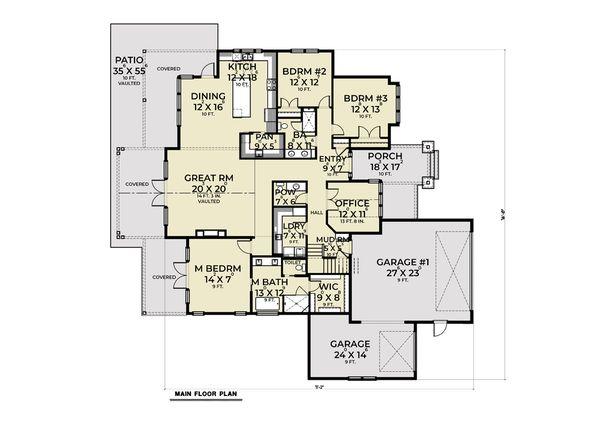Dream House Plan - Farmhouse Floor Plan - Main Floor Plan #1070-118