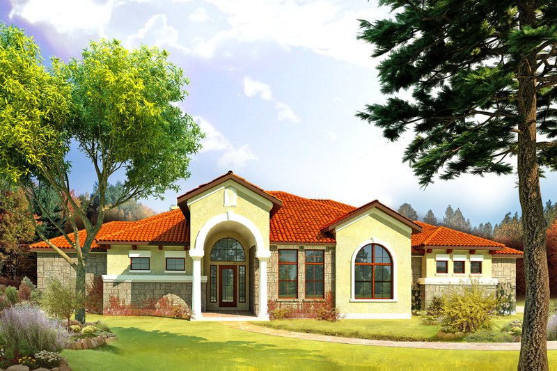 Mediterranean Style House Plan - 4 Beds 3 Baths 2541 Sq/Ft Plan #80-165 Exterior - Front Elevation