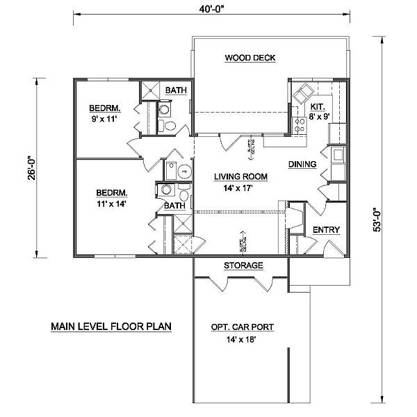 Contemporary Floor Plan - Main Floor Plan Plan #116-124