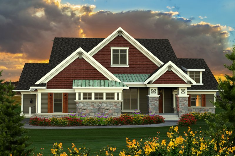 Farmhouse Style House Plan - 3 Beds 2.5 Baths 2495 Sq/Ft Plan #70-1172 Exterior - Front Elevation