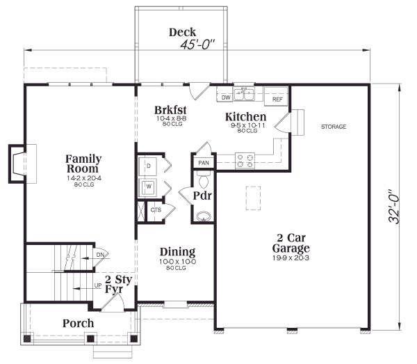Craftsman Floor Plan - Main Floor Plan #419-157