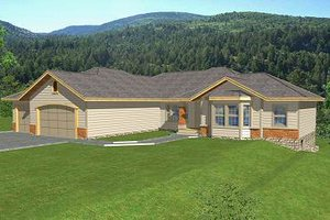 Ranch Exterior - Front Elevation Plan #112-144