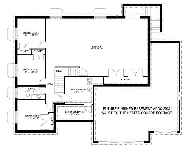 Dream House Plan - Traditional Floor Plan - Lower Floor Plan #1060-45