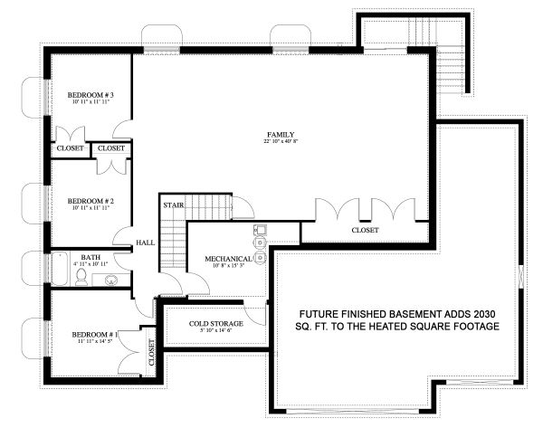 Traditional Floor Plan - Lower Floor Plan Plan #1060-45