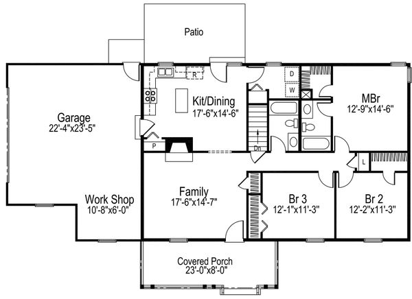 Ranch Floor Plan - Main Floor Plan #57-108