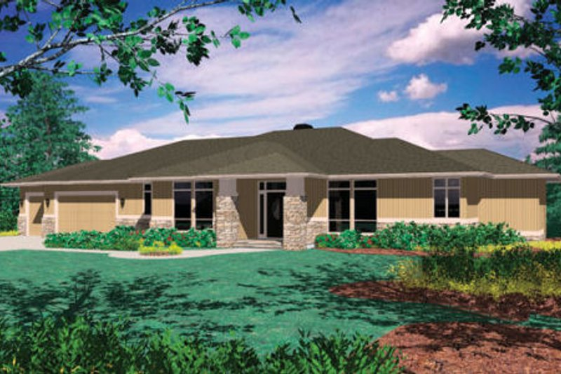 Contemporary Style House Plan - 3 Beds 2.5 Baths 5147 Sq/Ft Plan #48-299 Exterior - Front Elevation