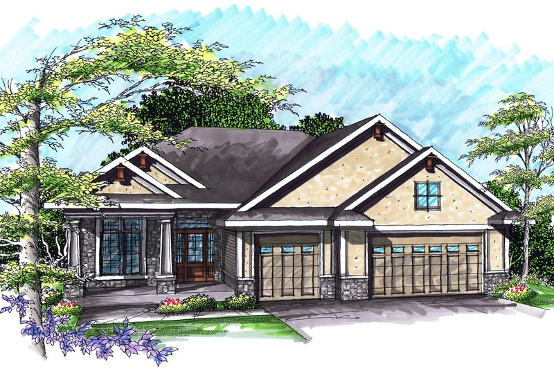 Ranch Exterior - Front Elevation Plan #70-1031