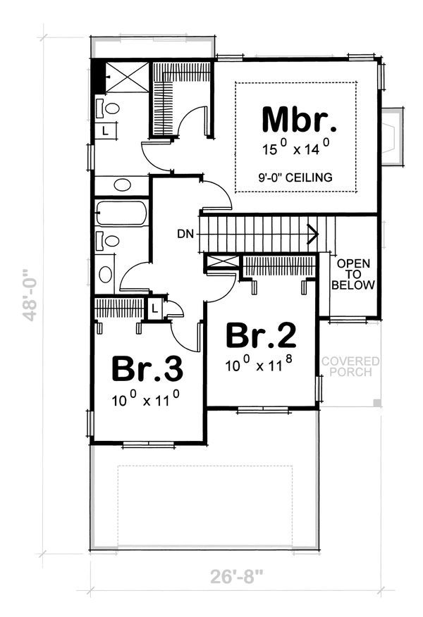 Traditional Floor Plan - Upper Floor Plan #20-1664