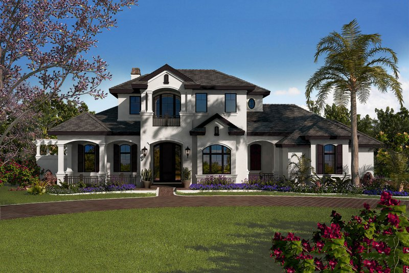 Country Style House Plan - 5 Beds 5.5 Baths 7531 Sq/Ft Plan #27-547 Exterior - Front Elevation
