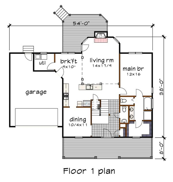 Dream House Plan - Country Floor Plan - Main Floor Plan #79-221