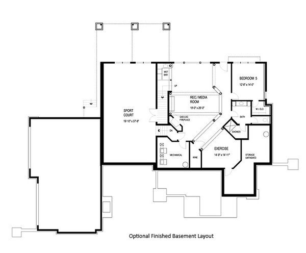 Craftsman Floor Plan - Lower Floor Plan Plan #56-592