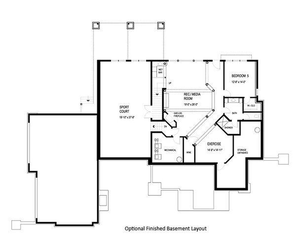 Craftsman Floor Plan - Lower Floor Plan #56-592