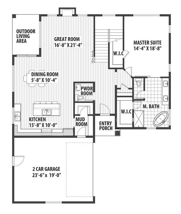 Contemporary Floor Plan - Main Floor Plan Plan #569-36