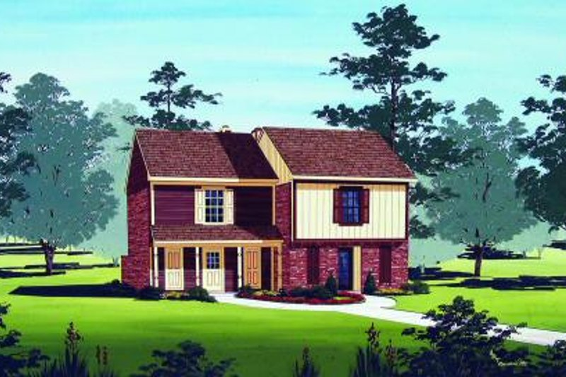 Architectural House Design - Traditional Exterior - Front Elevation Plan #45-295