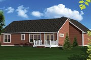 Ranch Style House Plan - 3 Beds 2 Baths 1664 Sq/Ft Plan #70-1047 Exterior - Rear Elevation