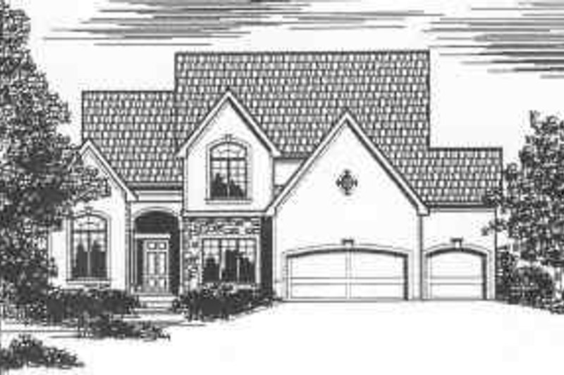 Traditional Style House Plan - 4 Beds 2.5 Baths 2798 Sq/Ft Plan #6-110 Exterior - Front Elevation