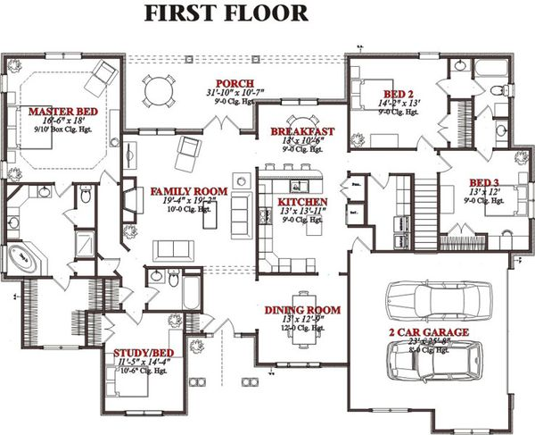 Traditional Floor Plan - Main Floor Plan Plan #63-222