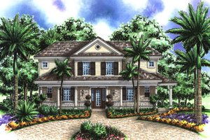 Colonial Exterior - Front Elevation Plan #27-407