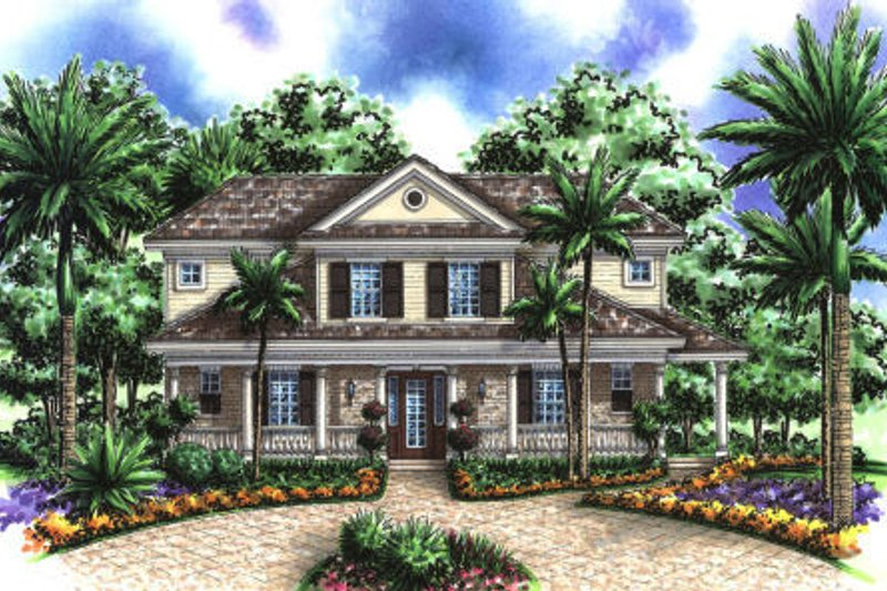 Colonial Style House Plan - 4 Beds 3.5 Baths 2557 Sq/Ft Plan #27-407 Exterior - Front Elevation