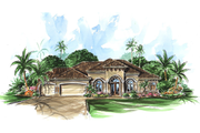 Mediterranean Style House Plan - 3 Beds 3 Baths 2566 Sq/Ft Plan #27-318 Exterior - Front Elevation