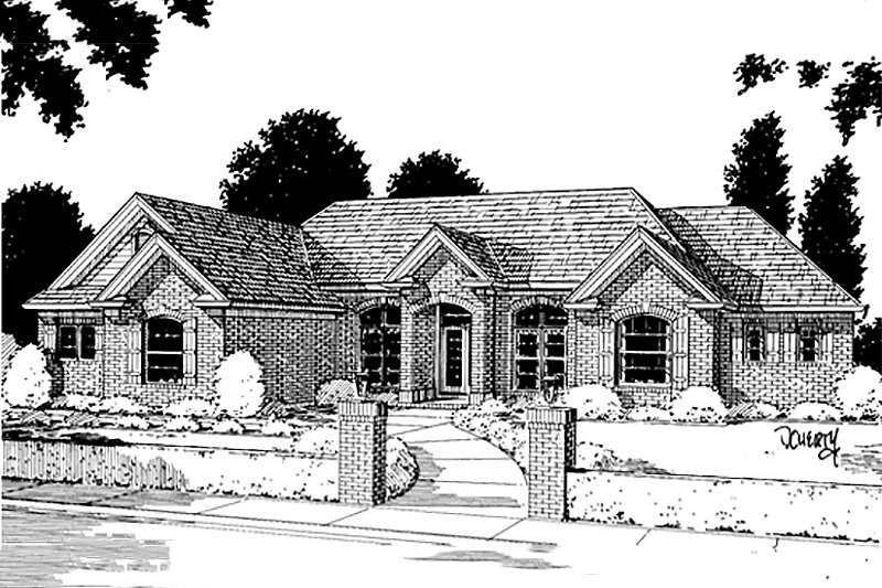 European Exterior - Front Elevation Plan #20-194