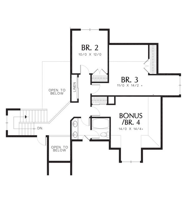 Craftsman Floor Plan - Upper Floor Plan Plan #48-383