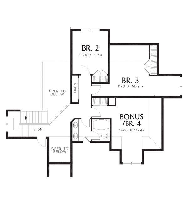 Craftsman Floor Plan - Upper Floor Plan Plan #48-383