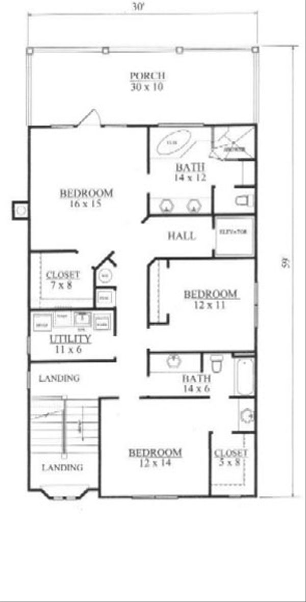 Tudor Floor Plan - Upper Floor Plan Plan #14-254
