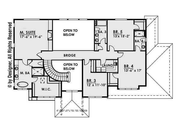 Contemporary Floor Plan - Upper Floor Plan Plan #1066-14