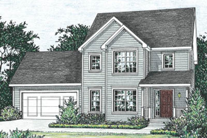 Traditional Style House Plan - 3 Beds 2.5 Baths 1570 Sq/Ft Plan #20-1258 Exterior - Front Elevation