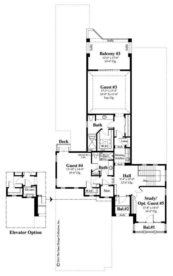 Mediterranean Floor Plan - Upper Floor Plan Plan #930-489