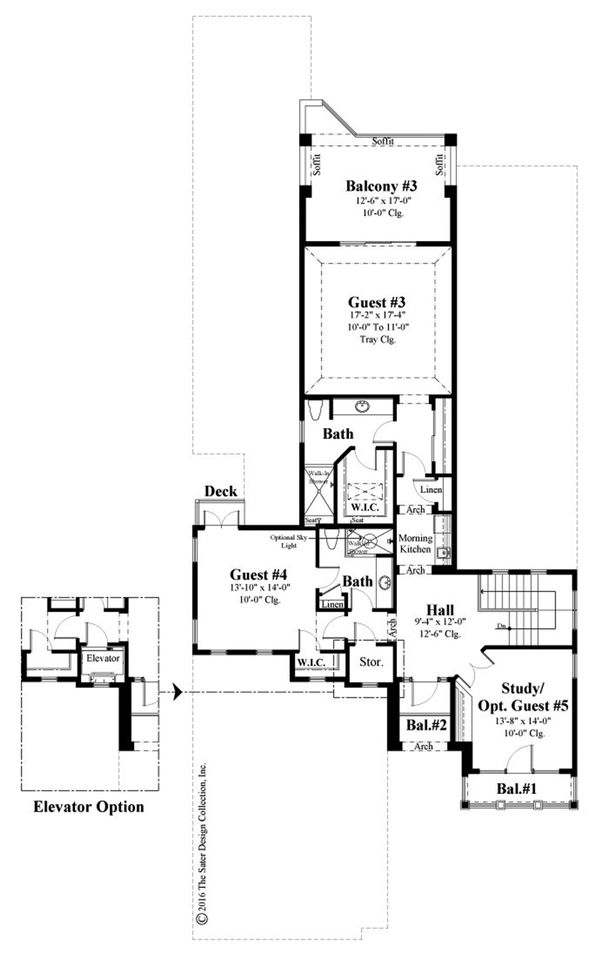 Mediterranean Floor Plan - Upper Floor Plan Plan #930-489