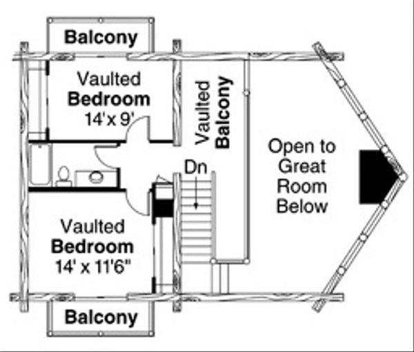 Log Floor Plan - Upper Floor Plan Plan #124-503