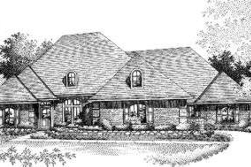 European Style House Plan - 4 Beds 3 Baths 2620 Sq/Ft Plan #310-134 Exterior - Front Elevation