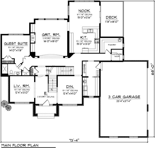 European Floor Plan - Main Floor Plan Plan #70-1090