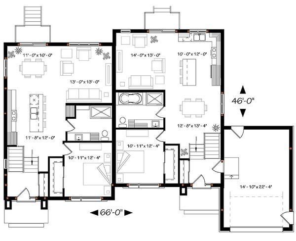 House Plan Design - Modern Floor Plan - Main Floor Plan #23-2640