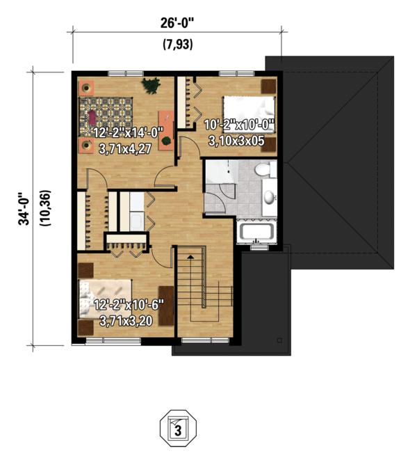 Contemporary Floor Plan - Upper Floor Plan Plan #25-4401