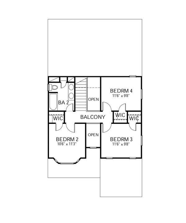 Traditional Floor Plan - Upper Floor Plan Plan #80-107