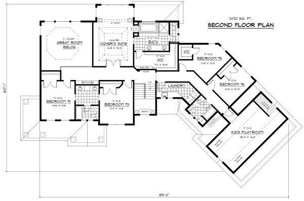 House Plan Design - Craftsman style house plan, upper level floor plan