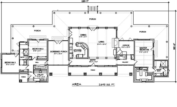 modern ranch house plan with generous porches - 2700sft