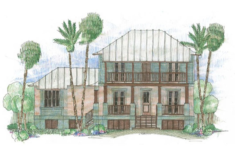 Beach Style House Plan - 4 Beds 3 Baths 2735 Sq/Ft Plan #426-21 Exterior - Front Elevation