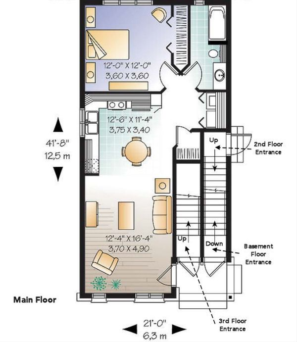 European Floor Plan - Main Floor Plan Plan #23-2152